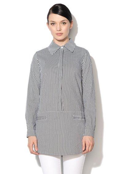 NISSA Camasa tip tunica negru cu alb in dungi