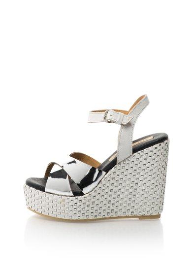 Sandale alb cu argintiu cu platforma de la Buffalo