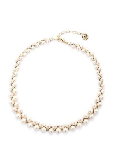 Colier auriu cu perle sintetice de la M by Maiocci