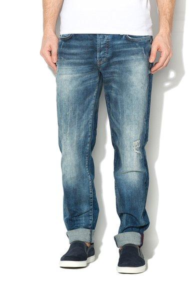 Jeansi albastri conici cu aspect uzat