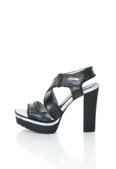 Calvin Klein Jeans Sandale negre de piele cu platforma Monica