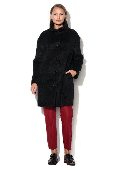 Palton negru din amestec de lana Love Moschino
