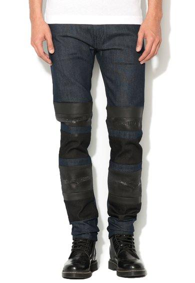 Jeansi albastru inchis cu garnituri negre 2637