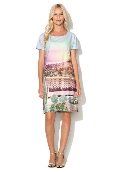 Rochie dreapta multicolora cu peisaj imprimat de la Uttam Boutique