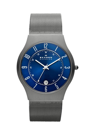 FashionDays.ro: Ceas argintiu cu albastru safir Grenen Skagen