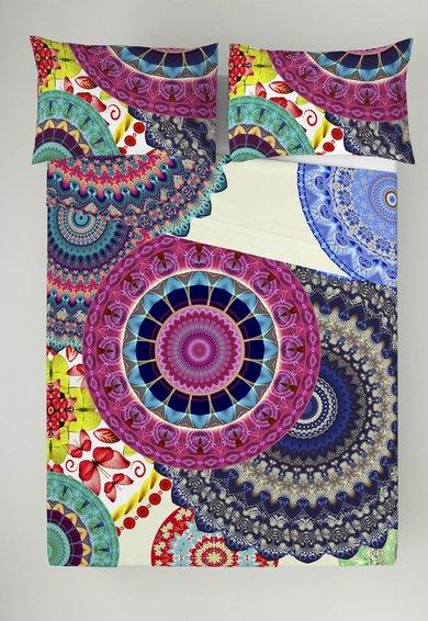 FashionDays.ro: Set multicolor de cearsaf cu fata de perna cu mandale Naturals