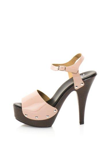 Sandale roz pastel din piele lacuita cu platforma Doralice de la Versace 19.69 Abbigliamento Sportivo