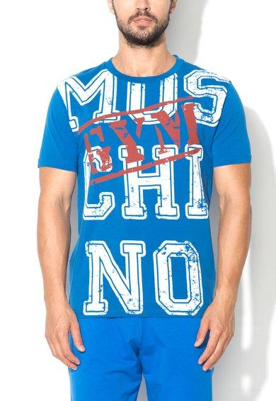 Tricou de casa albastru cu imprimeu logo Moschino