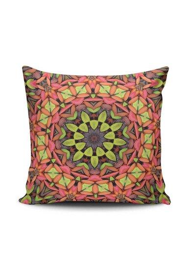 Husa multicolora pentru perna decorativa cu imprimeu Mandala de la Leunelle
