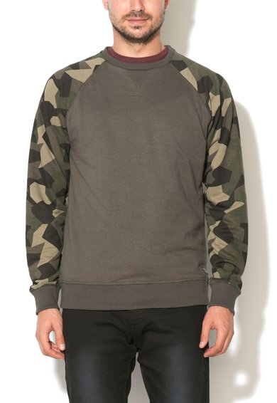Bluza sport slim fit verde militar cu imprimeu camuflaj de la BLEND