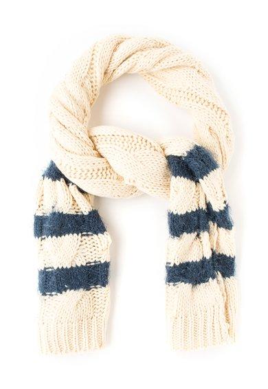 Pepe Jeans London Fular tricotat alb unt cu bleumarin