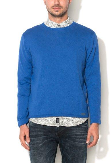 Pulover albastru safir cu decolteu la baza gatului Morris de la Pepe Jeans London