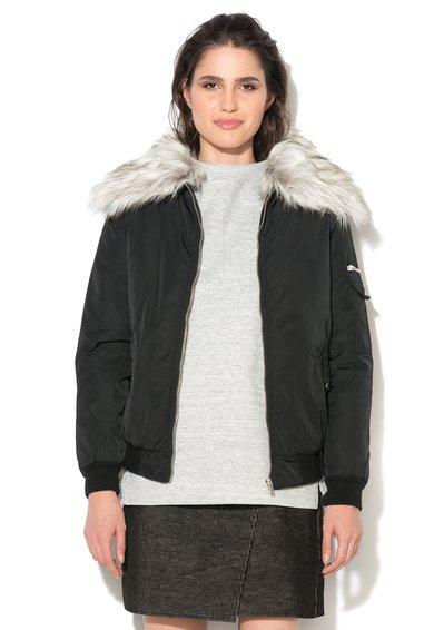 Jacheta neagra cu vatelina si blana sintetica Junior de la New Look
