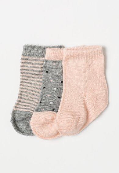Set de sosete roz cu gri din amestec de lana – 3 perechi de la Name it
