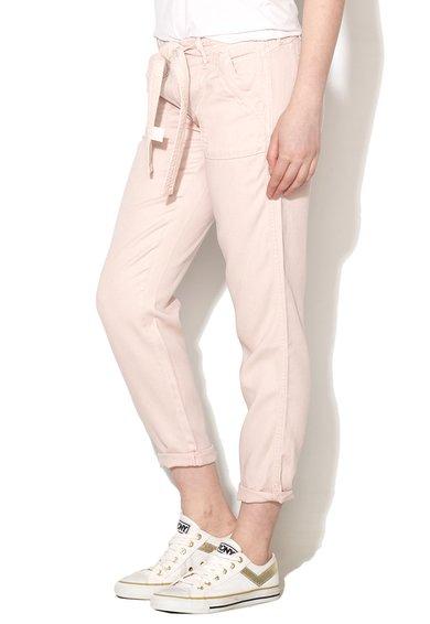 Pantaloni conici roz pastel din lyocell Elys de la Pepe Jeans London