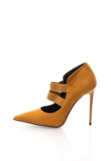 Pantofi stiletto ocru de piele intoarsa Denise de la Zee Lane