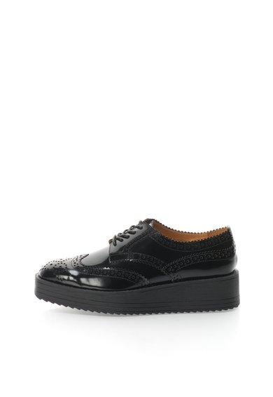 FashionDays.ro: Pantofi brogue negri de piele cu platforma wedge NISSA
