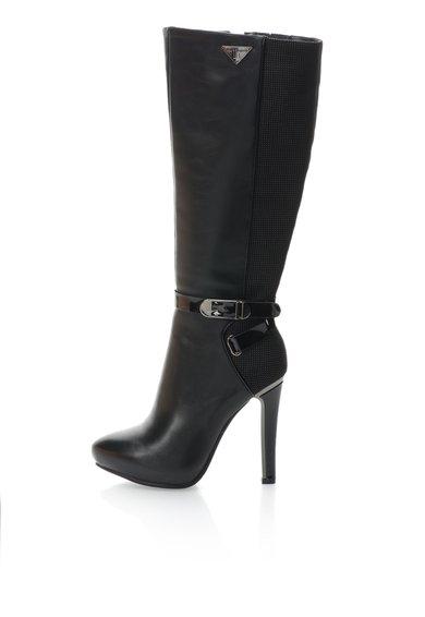 Cizme negre cu toc inalt si platforma interioara de la Laura Biagiotti