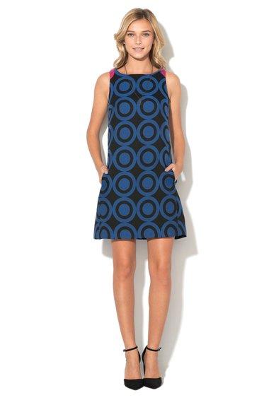 Rochie negru cu albastru cu imprimeu geometric Natalia Desigual