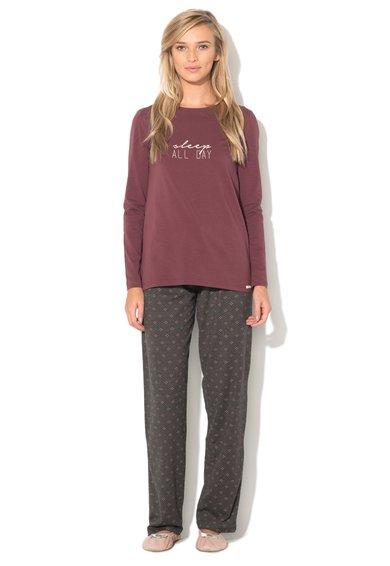 Pijama marsala cu gri - 2 piese