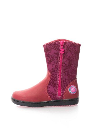 FashionDays.ro: Cizme scurte roz cu rosu si model floral Desigual