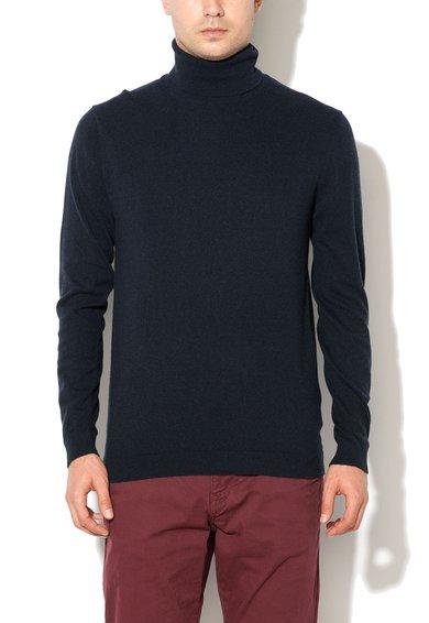 Pulover bleumarin inchis tricotat fin cu guler inalt de la ESPRIT