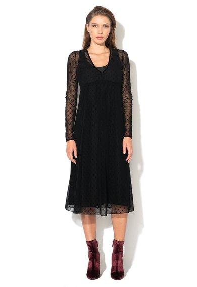 Rochie neagra de plasa catifelata cu buline priamo