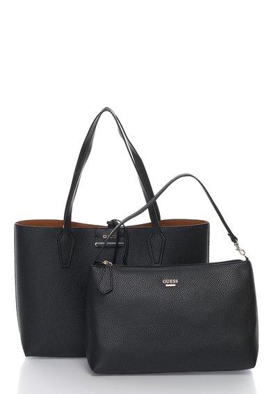 FashionDays.ro: Geanta reversibila maro si negru cu gentuta interioara GUESS
