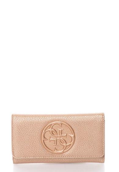 FashionDays.ro: Portofel maro bronz pliabil cu logo in relief Korry GUESS