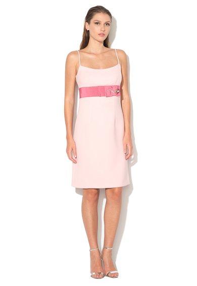 Rochie in nuante de roz de lana cu bretele si