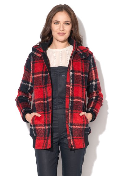 FashionDays.ro: Jacheta rosu cu negru in carouri cu gluga Margarette Pepe Jeans London