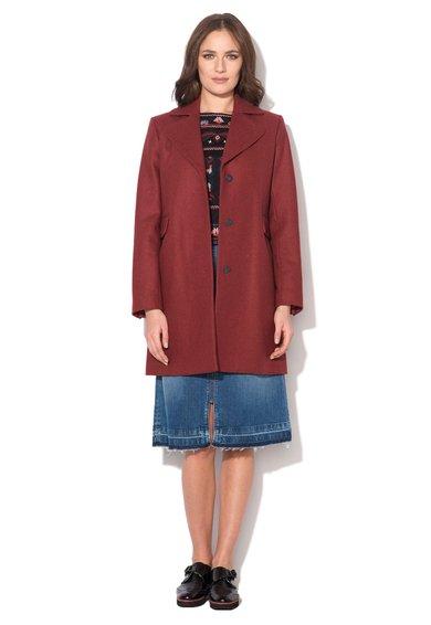 Haina rosu caramiziu din amestec de lana cu nasturi Rosie de la Pepe Jeans London