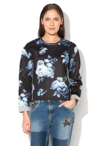 Pepe Jeans London Bluza sport neagra de neopren cu imprimeu floral Marshall