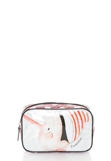 Geanta alb cu rosu cu Pinocchio pentru cosmetice de la Undercolors of Benetton