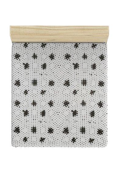 Leunelle Cearsaf de pat alb cu negru cu buline