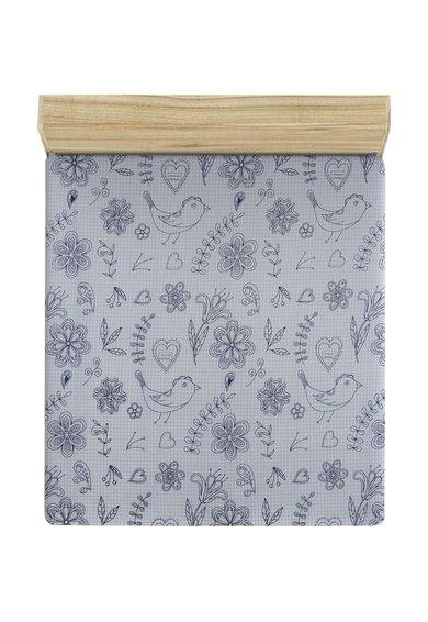 Leunelle Cearsaf alb de pat cu imprimeu