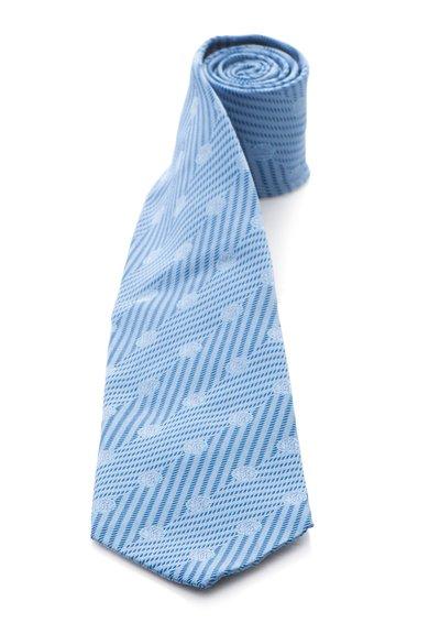 Cravata albastra de matase cu model logo de la Roberto Cavalli