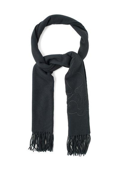 Fular negru de lana merinos cu franjuri