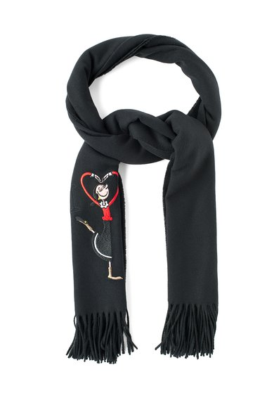 FashionDays.ro: Fular negru de lana cu detaliu multicolor cusut Moschino Cheap and Chic