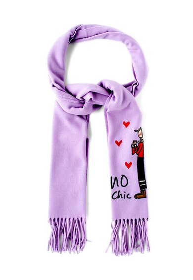 Fular lila de lana cu detaliu multicolor cusut de la Moschino Cheap and Chic