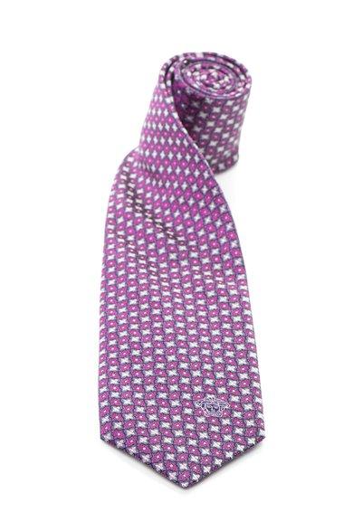 Cravata de matase cu model geometric in nuante roz de la Versace