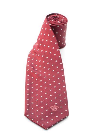 FashionDays.ro: Cravata rosu inchis de matase cu buline Versace