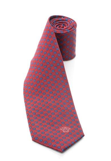 FashionDays.ro: Cravata rosu cu albastru de matase cu patratele Versace