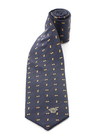 Cravata albastru inchis de matase cu buline de la Versace