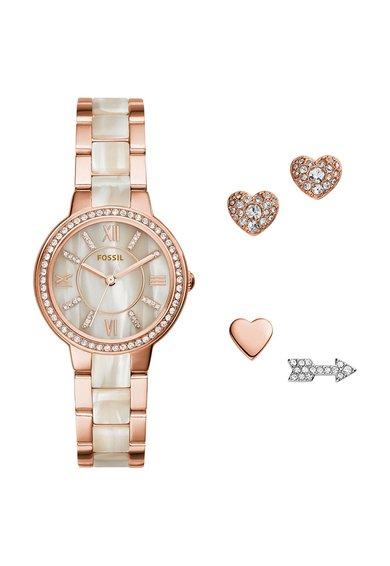 Fossil Set de ceas si cercei cu tija auriu rose cu bej