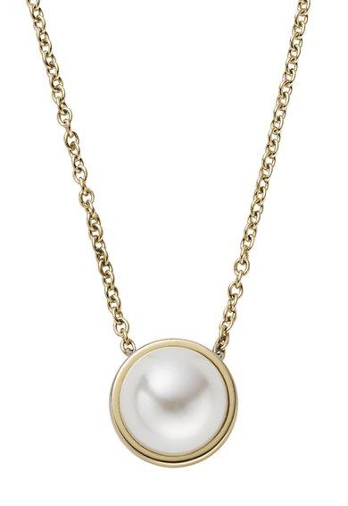 Skagen Colier auriu cu pandantiv cu perla