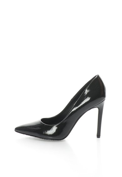 Pantofi stiletto negri lacuiti cu varf ascutit de la Francesco Milano