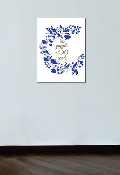 4Decor Tablou Blue Flowers&Motivational Quote
