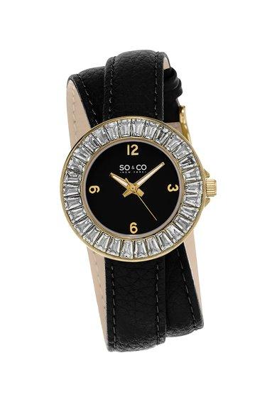 SO&CO New York Ceas negru cu auriu si curea infasurabila SoHo