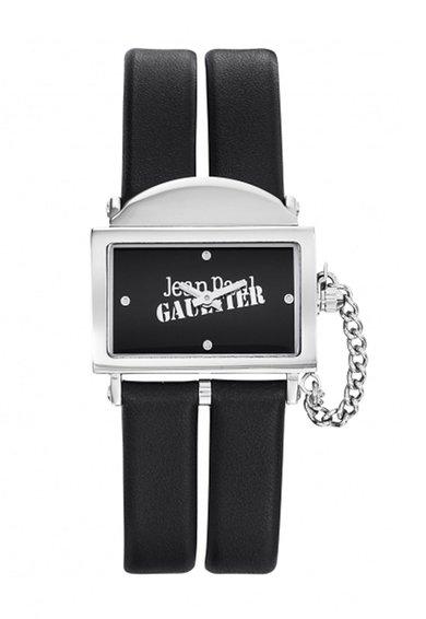 Jean Paul Gaultier Ceas negru cu o curea dubla din piele 325